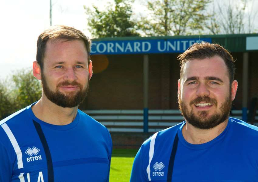 NEW MANAGERS: Cornard United's new chiefs Liam Aves and Ryan Lines ( Picture: Mark Bullimore)