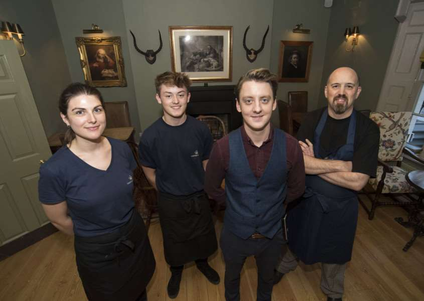 The Black Lion Long Melford.'The hotel was bought by the Chestnut Group and has been refurbished into a boutique hotel.'Gabby Rush, Ned Pardoe, opperations manager Christian Drysdale and Chef Pete Narvidge 'Picture Mark Westley
