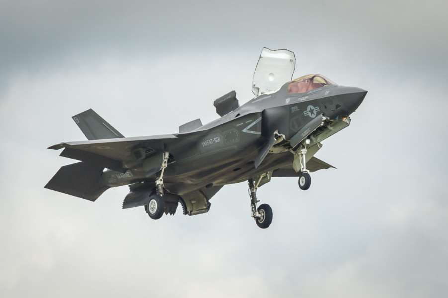 F-35B Lightning makes a maiden appereance over RAF Marham. ANL-160207-001010009