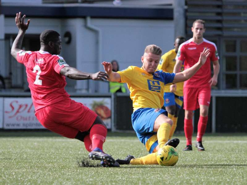 MOVING ON: Jack Newman in action for AFC Sudbury against Aveley earlier this season. The midfielder has now signed for lower-league Hadleigh United