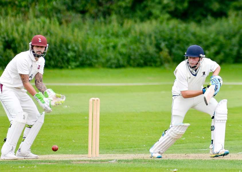 Haverhill batsman Chris Palmer during his innings of 148 against Witham. ANL-161007-201339009