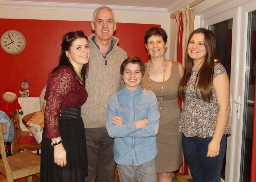 Arran pictured with his family, from left to right Chloe, Stephen, Alison and Abbie Tosh.