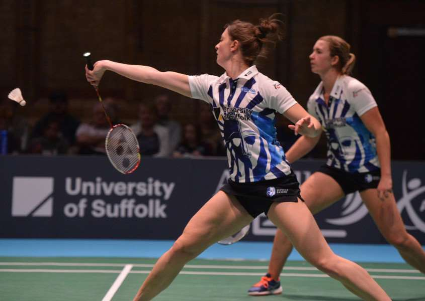 NARROW DEFEAT: Julie Finne Ipsen and Sarah Walker in action for Suffolk Saxons against Team Derby