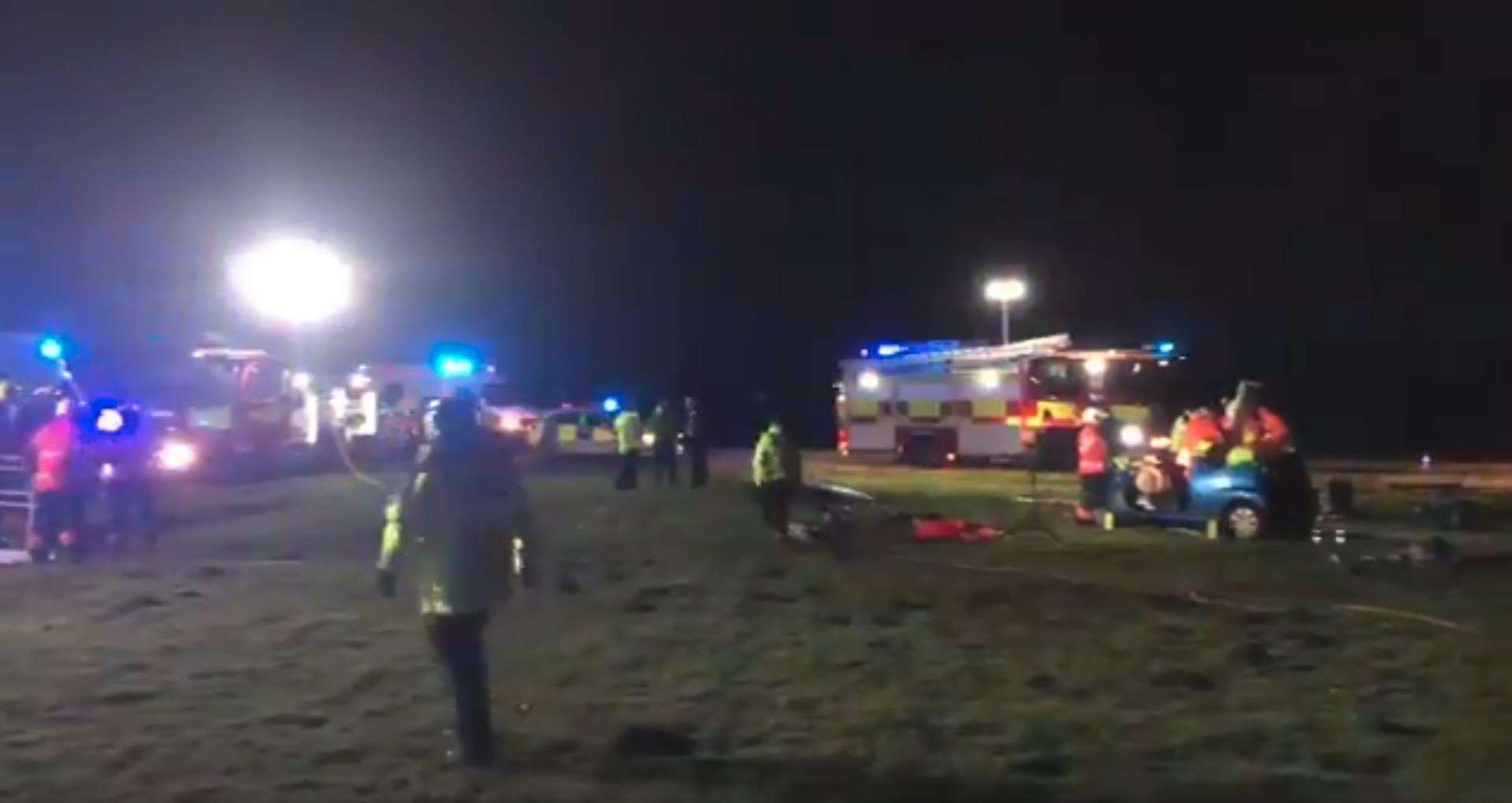 Two cars crashed just outside Newmarket last night (7143536)