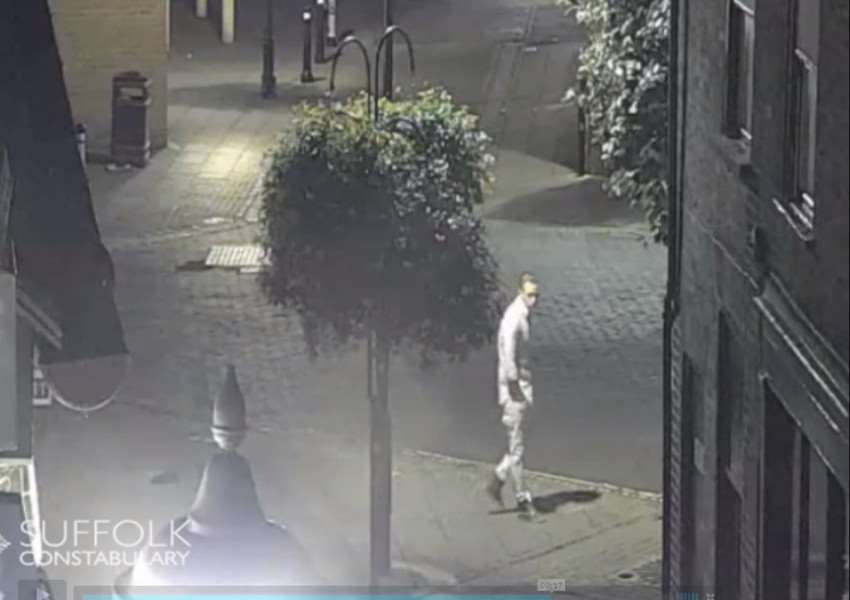 The last confirmed sighting of Corrie McKeague - taken from the 3.25am CCTV footage of him in Brentgovel Street, Bury St Edmunds, on Saturday September 24. ANL-161021-143135001