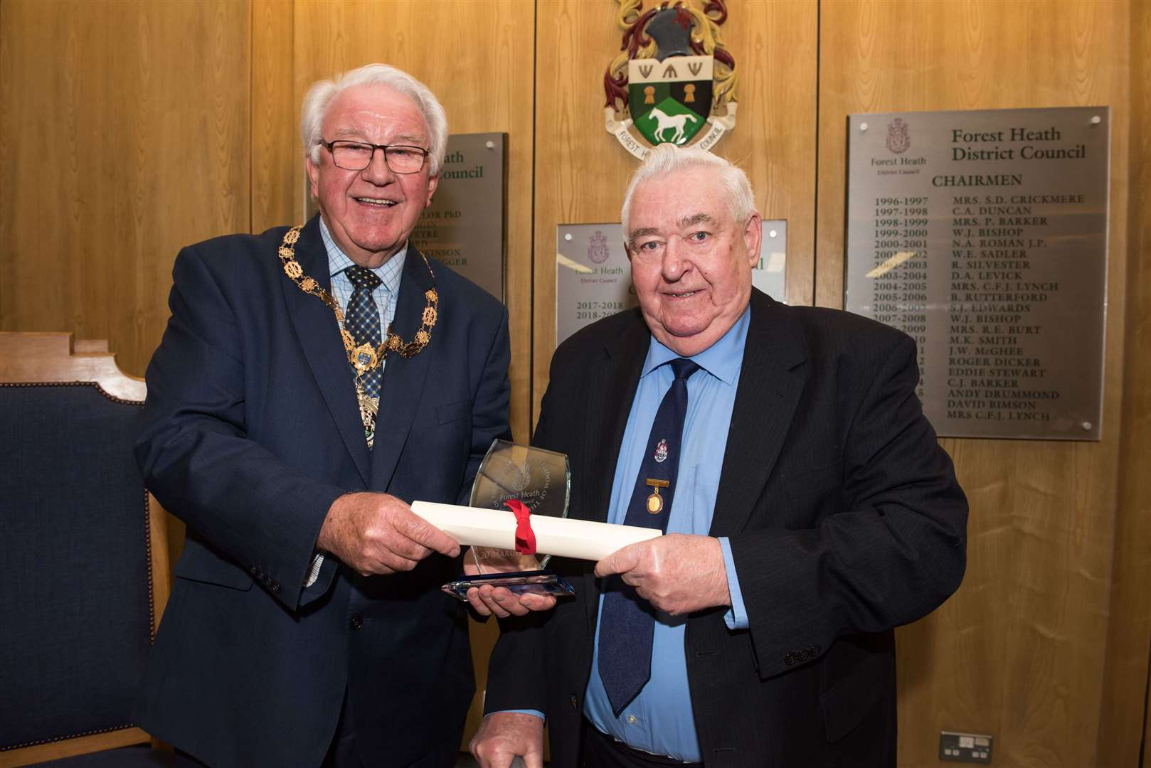 Chairman Brian Harvey presents Nigel Roman with the first and only freedom of the district after 40 years on the council Picture Mark Westley (7977769)