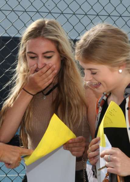Delight and surprise as the A level results are revealed ANL-160818-134009001