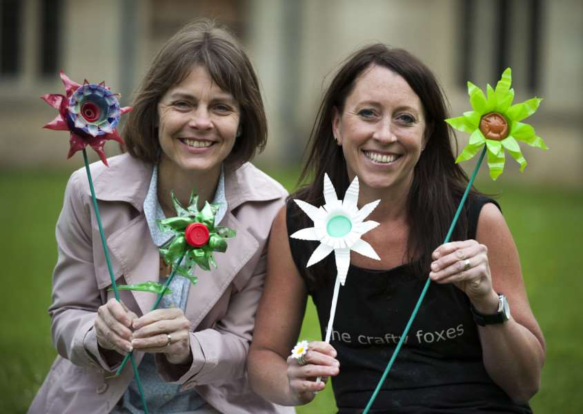 Mark Westley Photography Sarah Friswell and Michelle Freeman with some flowers made from recycled products ANL-150519-213740009