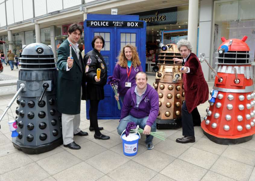 Relay for Life organisers in the arc shopping centre with Dr Who enthusiasts