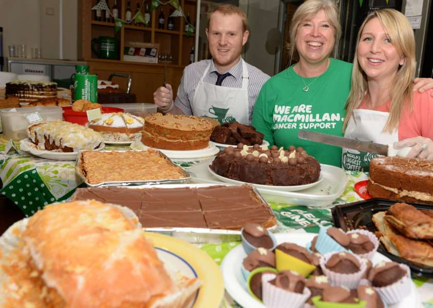 Greene King staff at one of the Macmillan World's Biggest Coffee Mornings they ran ANL-150206-163807001