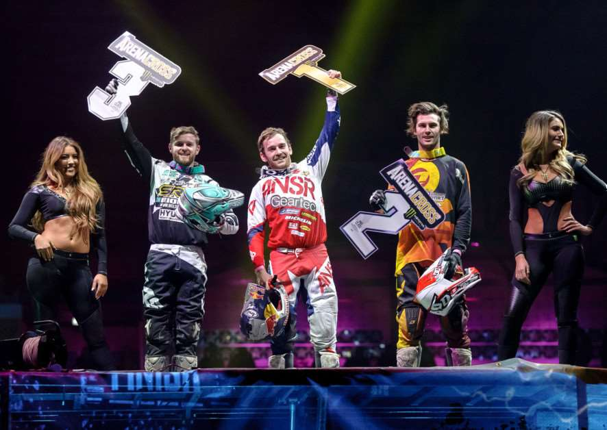 PERFECT PRESENT: Elliott Banks-Browne celebrates winning round five of the Arenacross Tour in Newcastle a day before his 25th birthday