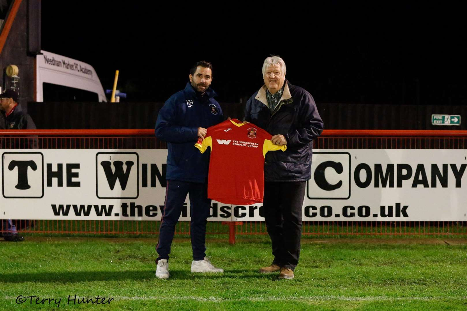 Needham Market manager Kevin Horlock (left) with Barry Hegley, of main club sponsor The Windscreen Company at the Suffolk Premier Cup Final first leg against Lowestoft TownPicture: Terry Hunter (42722346)