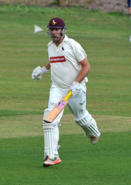ON THE RUN: Sudbury's Tom Huggins, who finished the Two Counties Championship season with more runs than any batsman across the four divisions after his double hundred at Mistley on Saturday