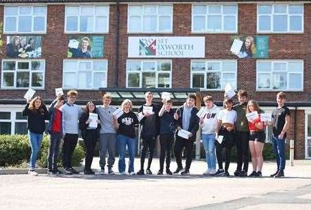 Students at Ixworth Free School celebrate their GCSE results. (Credit: Gregg Brown, Copyright: Seckford Education Trust)