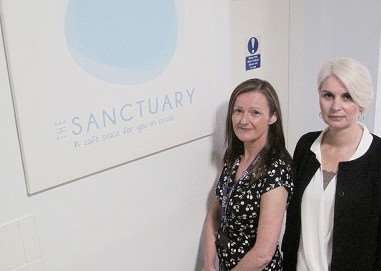 Elaine Young from CPFT and Elaine Mars from Mind in Cambridgeshire at The Sanctuary in Cambridge