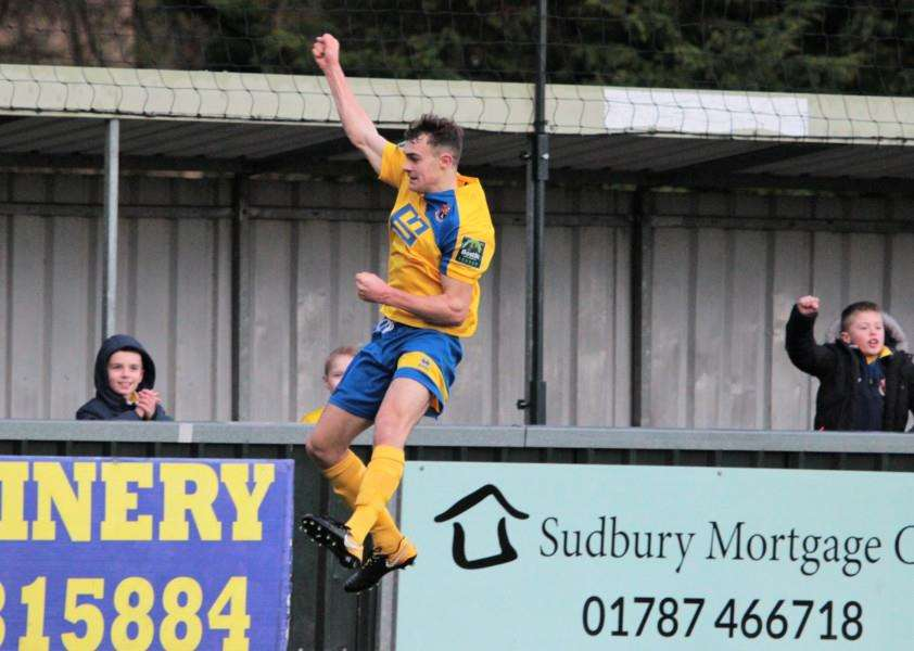 JUMPING FOR JOY: Ollie Peters celebrates putting AFC Sudbury ahead in the derby with Bury on Monday, his second goal in his last three home games