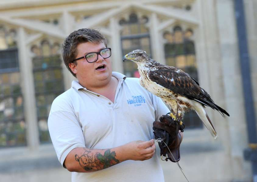 Birds of Prey and crafts at Bury Cathedral''Pictured: Ross Thomson (from Fens Falconry) with a Ferruginous Hawk ANL-160823-152150009