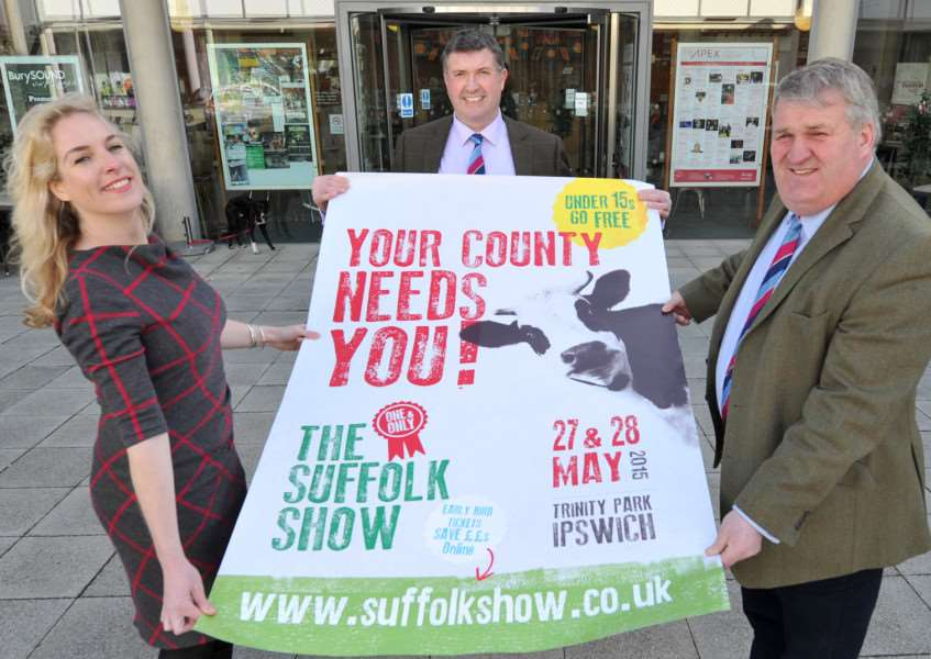 Nicola Bateman launching the show's poster campaign in February with show director Bill Baker and chairman of business developmentPeter Over ANL-150224-163757009