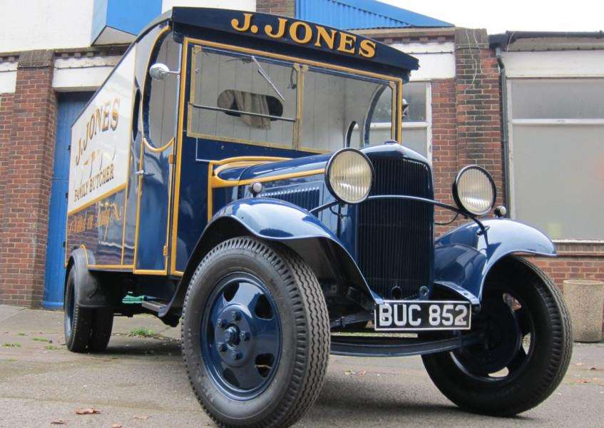 The restored Jonsey's van outside the building it was built in in 1935 ANL-160802-103038001