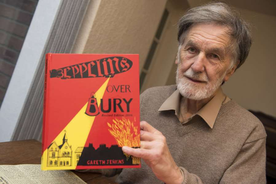 Gareth Jenkins with the revised edition of Zeppelins Over Bury.