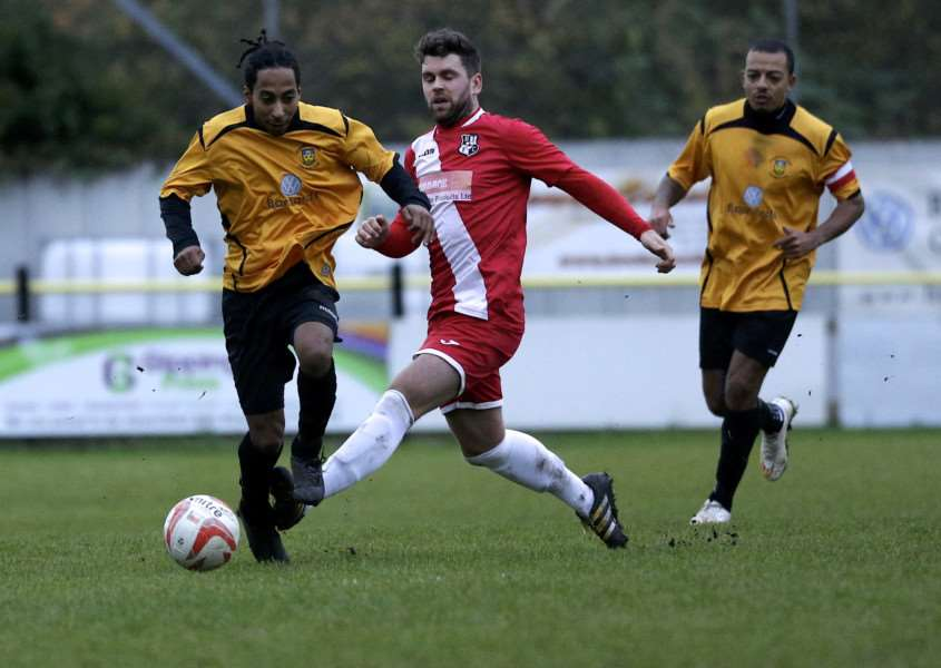 BIG WIN: Stowmarket Town pulled off an impressive 2-1 win against Halstead Town at the weekend