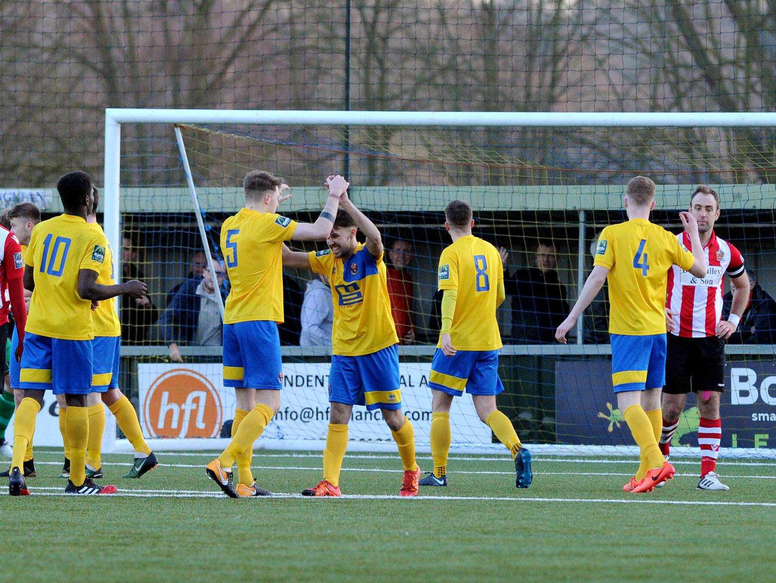 BIG STEP: AFC Sudbury beat league leaders AFC Hornchurch at the King's Marsh Stadium (Picture: Mecha Morton)