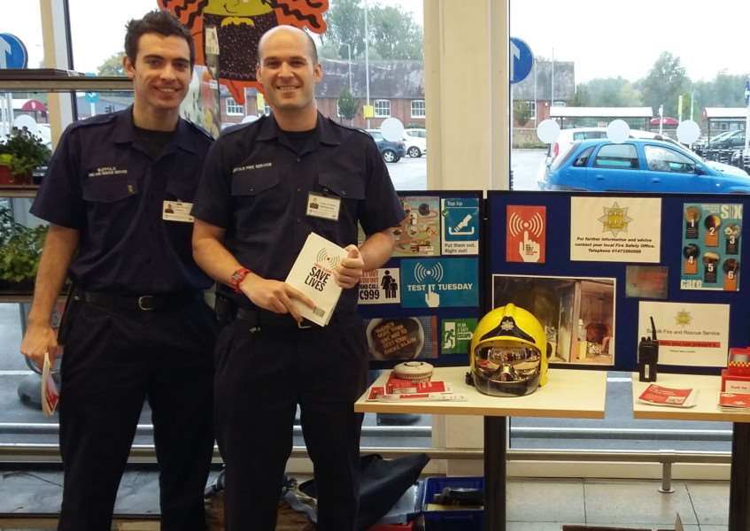 Firefighters from Sudbury have been in local supermarkets discussing fire safety in the home. ANL-151027-110755001