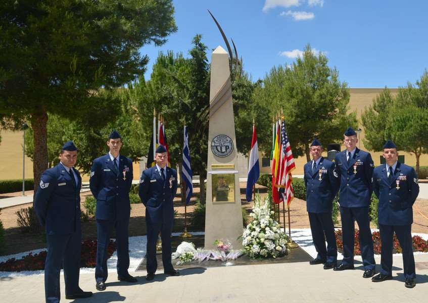 Six USAF Airmen who received the Spanish Cross of Aeronautical Merit for their actions after a fatal crash at Spain's Albacete Air Base during a NATO exercise in JanuaryPicture USAF/Staff Sgt. Stephanie Longoria ANL-150619-145521001