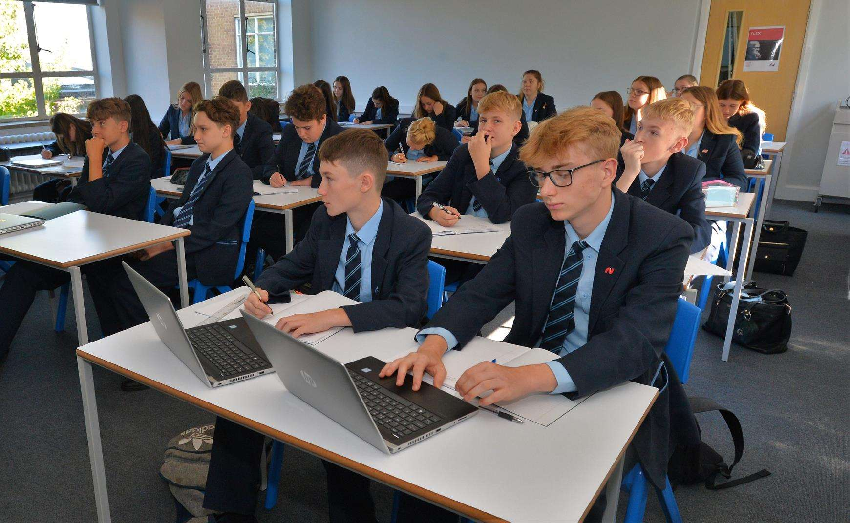 Pupils in one of the refurbished classrooms at Newmarket Academy