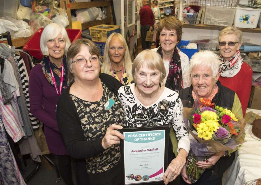 SUDBURY North Street PDSA''Charity shop volunteer Alexandra Mitchell is receiving a reward for 20 years service at PDSA.'Alexandra with Jayne langdon manager, and volunteers Doreen Taylor, Linda Weatherby, Maureen Stevens, Sue Long and Pat Bushell'Picture Mark Westley
