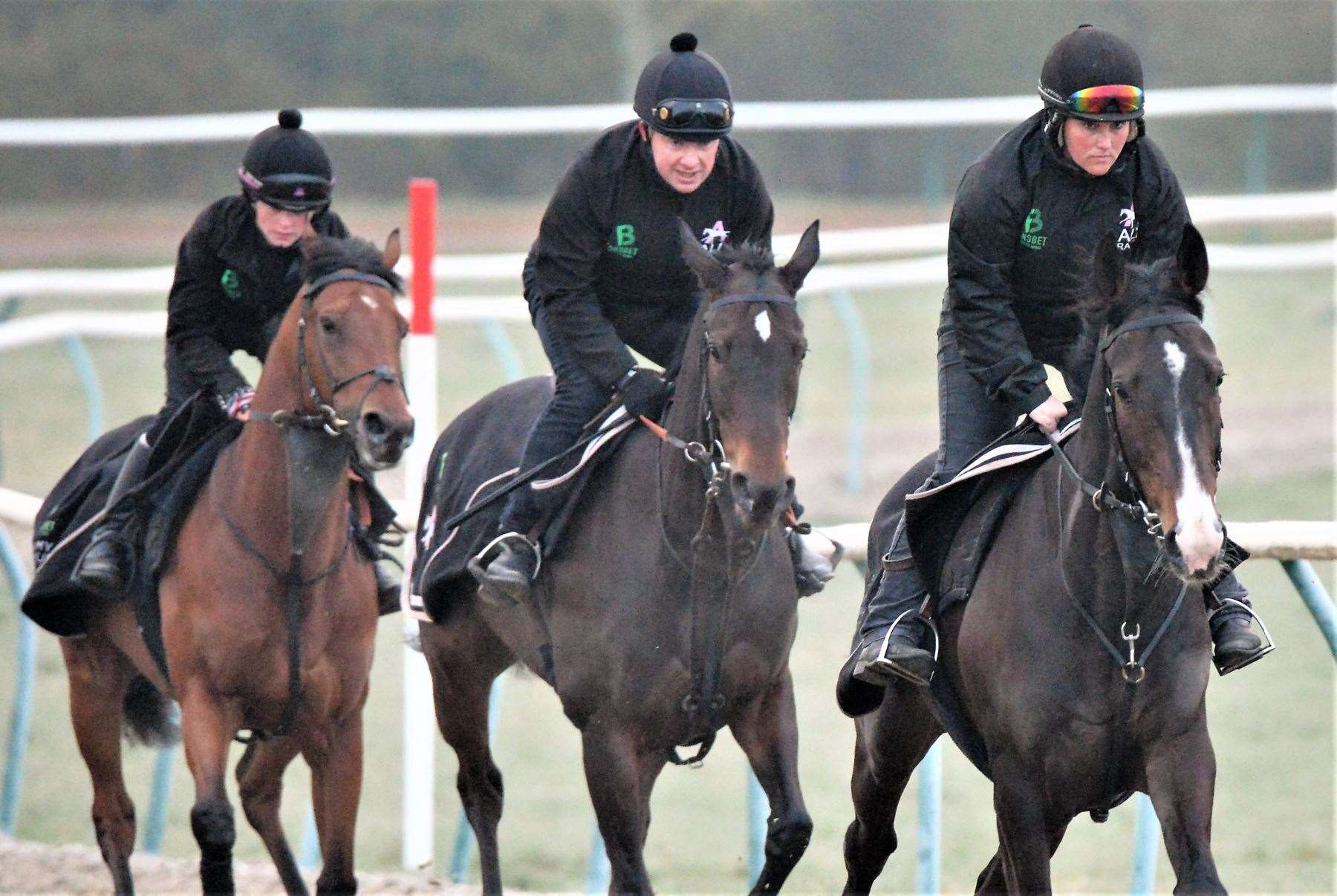 Kalashnikov leads Hawthorn Cottage out on the gallops ahead of their trip to Aintree for the Grand National meeting - Amy Murphy. Picture: Geoffrey Pieters (8282614)