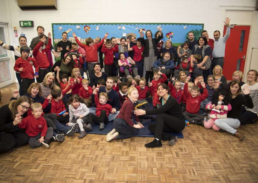 Pupils and staff at Riverwalk School celebrate their 'good' Ofsted