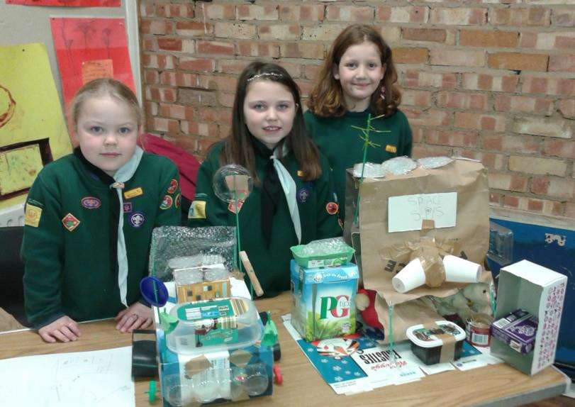 Charlotte Humphrey, Lois Kerr and Valentina Creffield with their construction challenge work ANL-150303-145429001