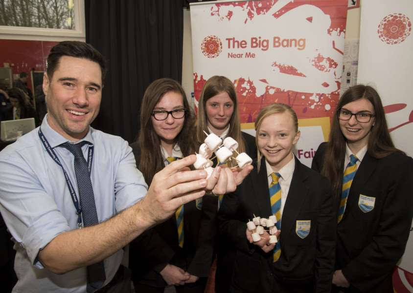 Stour Valley Community School, Cavendish Rd, Clare, Sudbury'School STEM fair (science fair)'Millie Sinclair, Poppy Smith, Ellie Nitsche and Amy Hindle with Dan Stephens teacher of design and technology, technology STEM coordinator.'Picture Mark Westley
