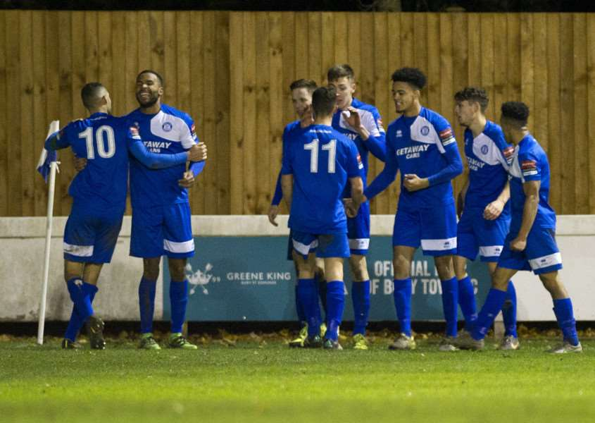 LATE WINNER: Bury Town players celebrate Josh Mayhew's 86th-minute winner at home to Haringey Borough on Saturday, but it was a rather different feeling at the final whistle on Tuesday as they failed to make their dominance count in a 2-1 defeat to Heybridge Swifts
