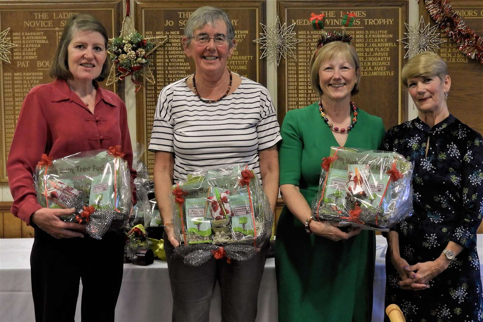 Bury GC Christmas Waltz team runners-up Diane Hasler, Lynne Wright, Anne-Marie Regnery and new Lady Captain Chris Tilbrook - photo Sandra Stannard (6155028)