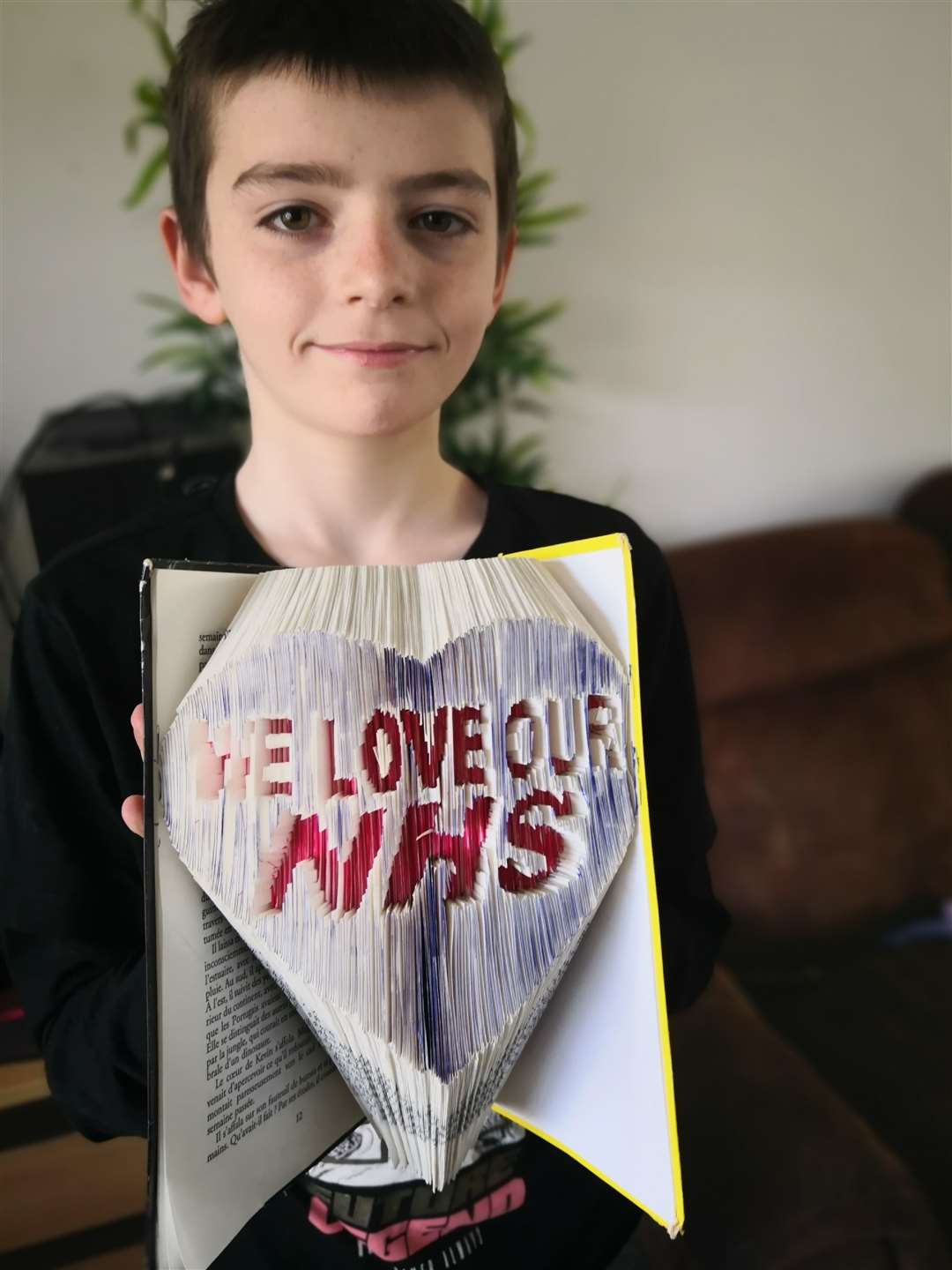 Cameron Balzer, 11, has created his own bookfold design to express his gratitude to the NHS for their work tackling the coronavirus outbreak. (33633461)