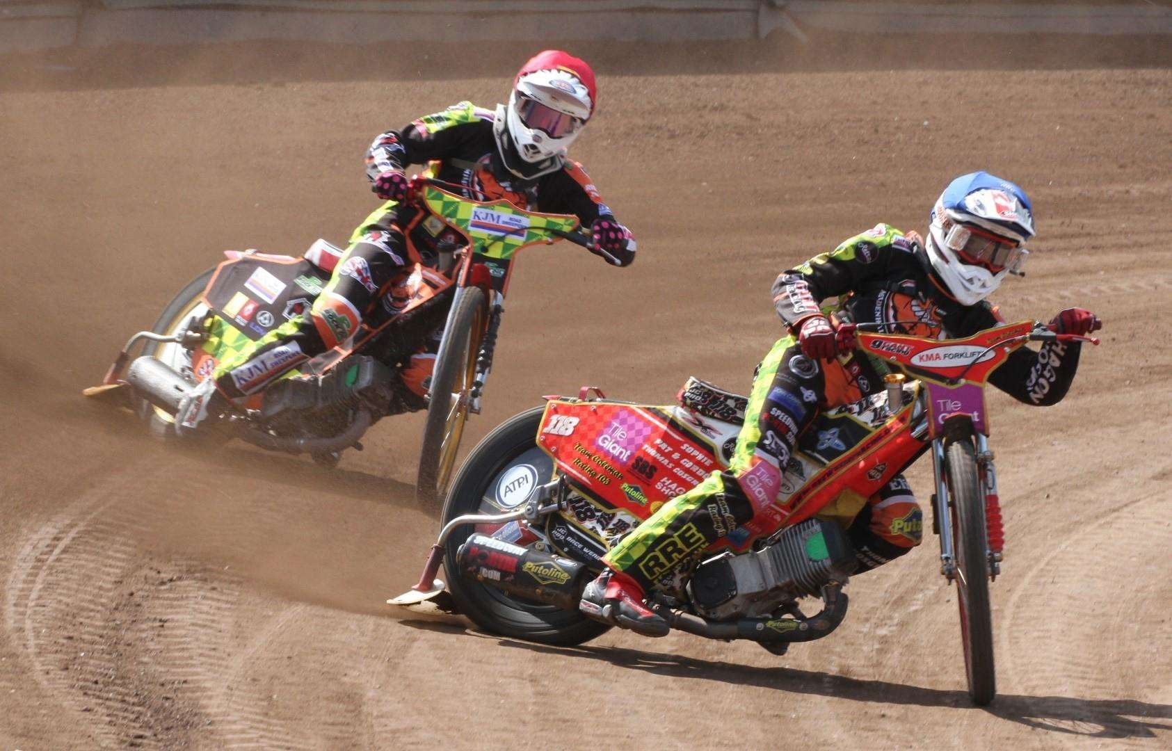 Danny Ayres (red helmet) and Drew Kemp (blue) in action for the Mildenhall Fen Tigers yesterday (2340308)