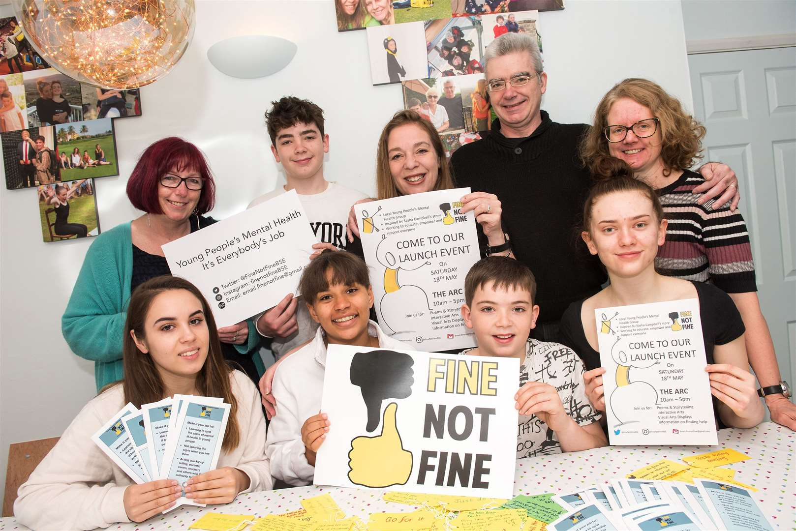 Di Kennedy, Sasha's brother Isaac, mum Jordanna, dad Donald, Liz Cooke, Eva Allan, Jess Gottgens, brother Hamish and Millie Cooke Wharton prepare for the Fine Not Fine campaign. Picture by Mark Westley.