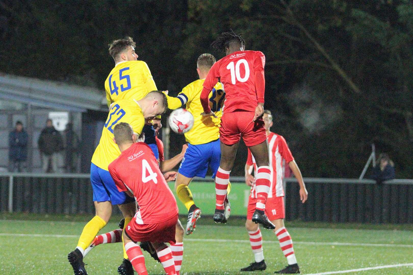 AFC Sudbury U18s v Bowers & Pitsea - Freddie King heads in the winning goal in the FA Youth Cup first round proper tie Picture: Clive Pearson (20479690)
