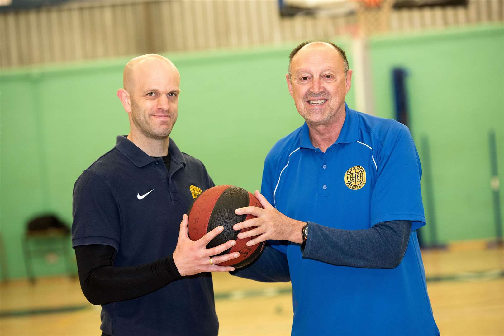 Bury St Edmunds.County Upper Basketball Academy hire ex-professional head coach: Coach Navarro: ANGEL NAVARRO HERNÁNDEZ.Has coached in the Champions League equivalent of basketball in Spain..Coach Darren Johnson and Angel Navarro Picture Mark Westley. (35249866)