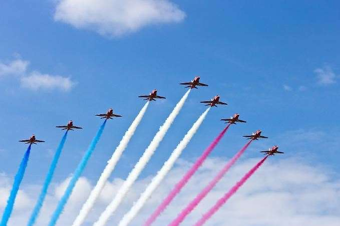 Those in certain parts of the county will be able to spot the RAF Red Arrows soaring overhead this afternoon as part of a Suffolk airbase's birthday celebrations.