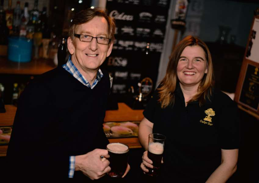 Mike Kirkham from Our Bury St Edmunds and Heather Warren raise a glass to the Ale Trail at Oakes Barn