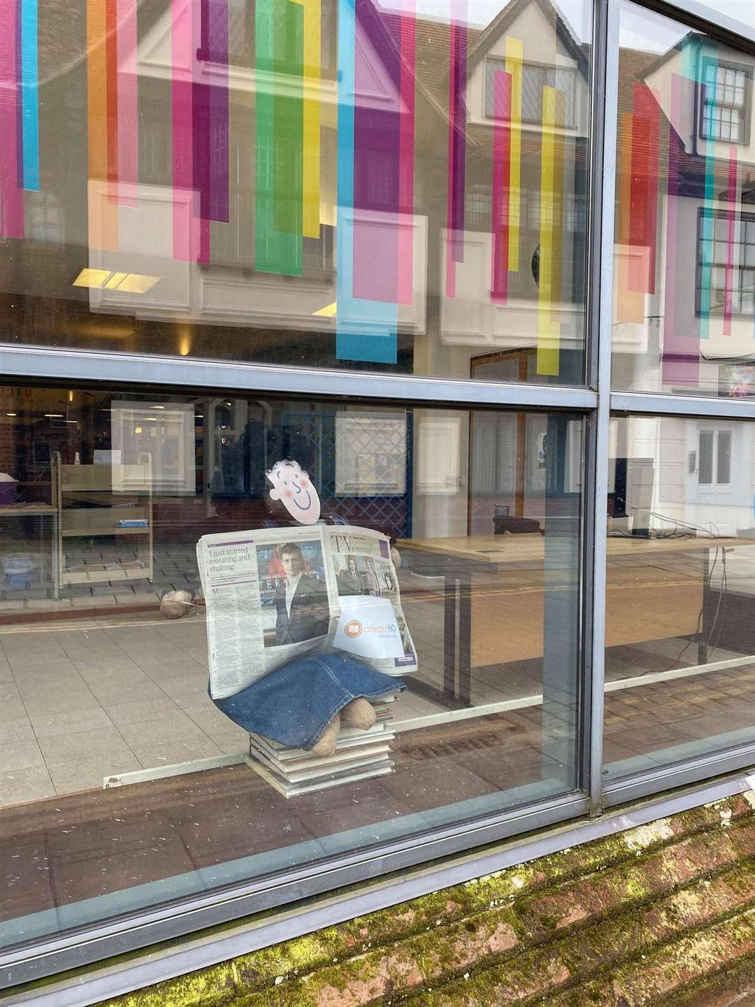 Ipswich County Library has installed a Tracy Beaker scarecrow. Picture: Ipswich County Library Facebook