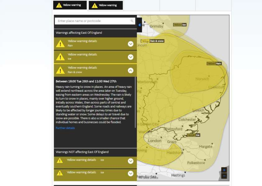 Met Office weather warnings for East Anglia