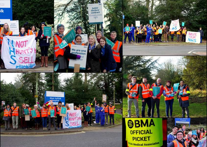 A collage of West Suffolk Hospital doctors' picket line pictures by 'Amrita Gurung ANL-160114-114051001