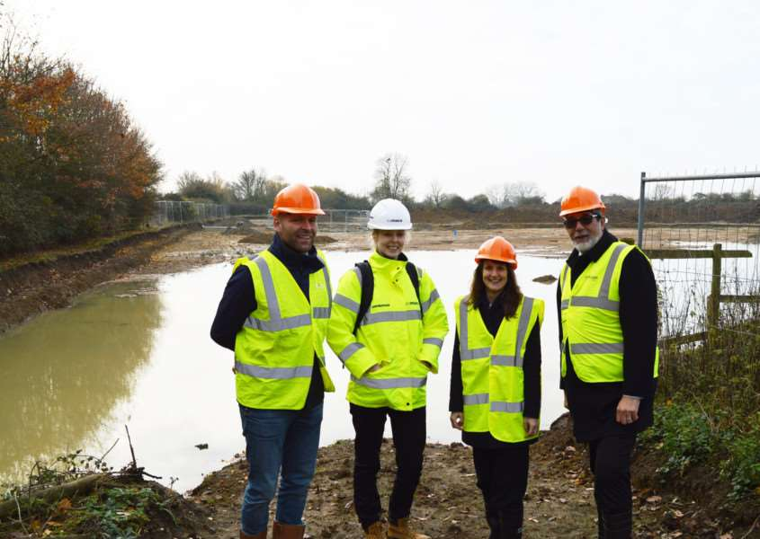 Work begins on the new leisure centre for East Cambs in Ely. Pictured are, from left, Corn� van Mook, contract manager at Pellikaan, Faye Worrall, senior cost consultant, Mace, Sally Bonnett, infrastructure & strategy manager, East Cambs and Cllr Richard Hobbs, chairman of the council's commercial services committee