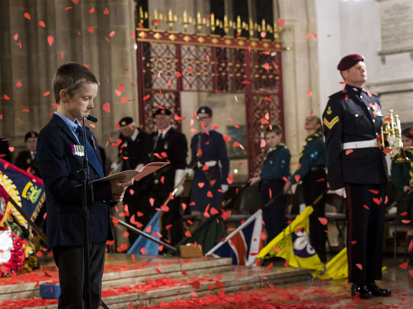The service included a mass drop of poppies. Picture: Cpl Jamie Hart, British Army.