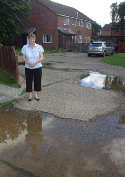 Denise Angel by the flooding in Mallard Way, Great Cornard. ANL-160713-121741001