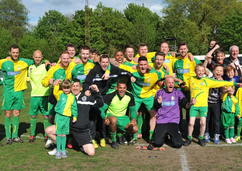 LOOKING UP: Lakenheath - pictured celebrating their Suffolk Senior Cup win in 2015 - are looking to join the Thurlow Nunn League